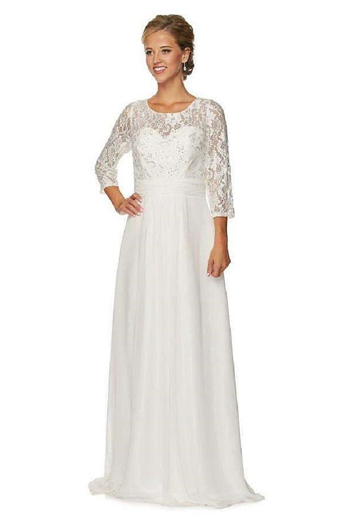 Off White Lace Mid-Sleeve Bridal Gown Size L
