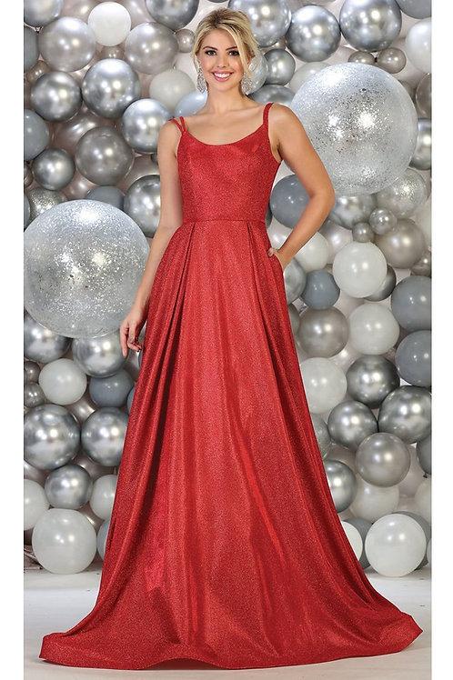 Red Metallic Long Dress Size 10, 18