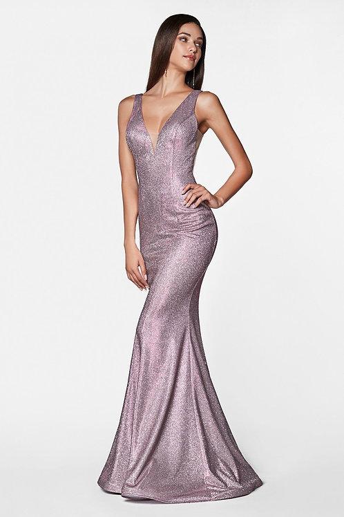 Rose Pink Metallic Long Dress Size 8, 12