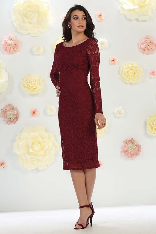 Burgundy Long Sleeve Short Dress Size 12