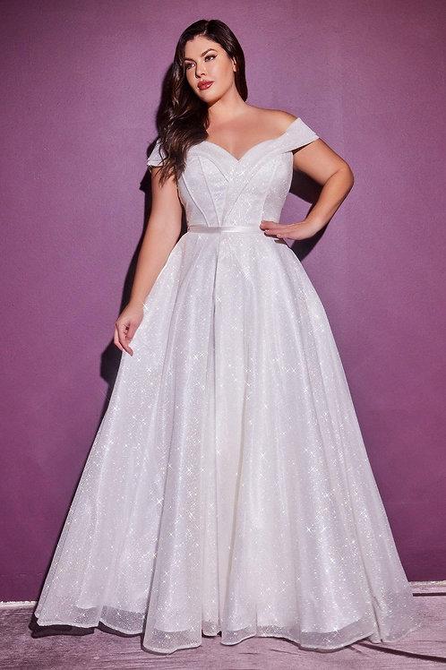 Off White Glitter Bridal Ball Gown