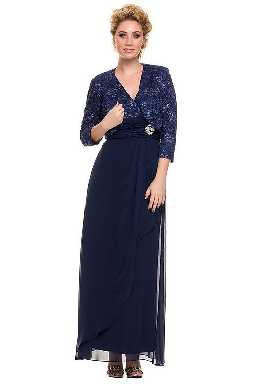 Navy Lace Top Long Dress With Matching Lace Jacket Size M, L