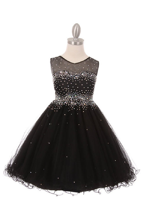 Girls Black Jeweled Short Dress Size 14