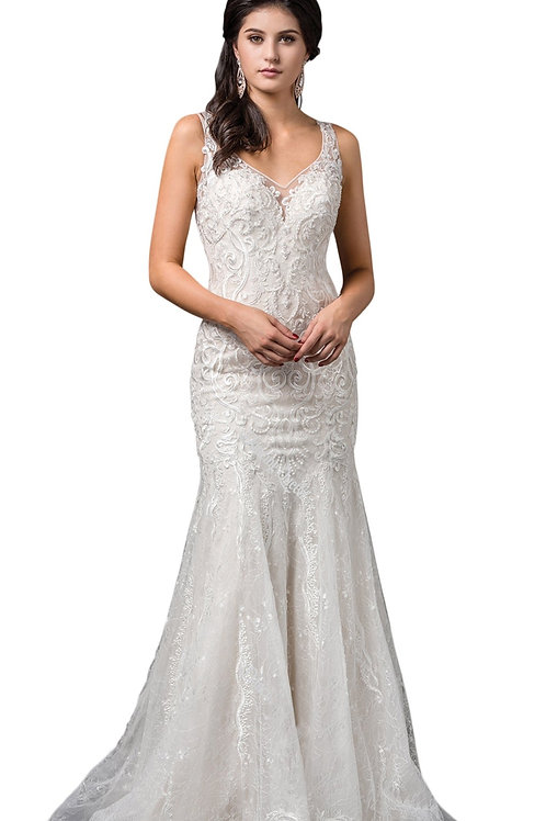 Off White Glittery Fit & Flare Bridal Gown Size XL
