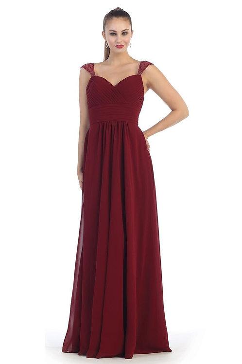 Burgundy Chiffon Long Dress Size 20
