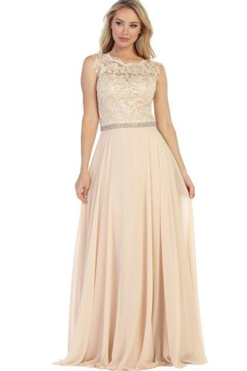 Champagne A-Line Semi Formal Bridal Gown Size