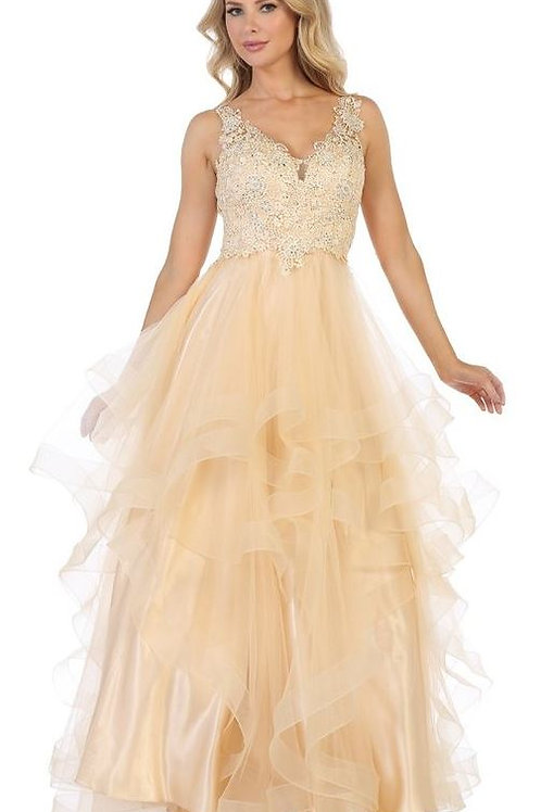 Champagne A-Line Gown With Layered Ruffled Skirt Size 3XL