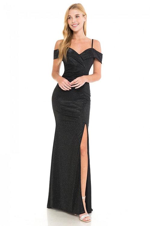 Black Off The Shoulder Metallic Fit & Flare Long Formal Dress Size 2XL