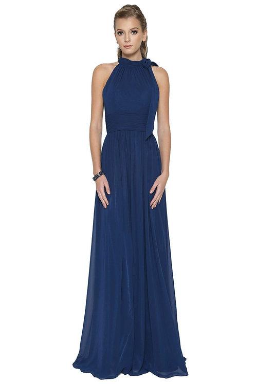 Navy High Neck Long Dress Size L