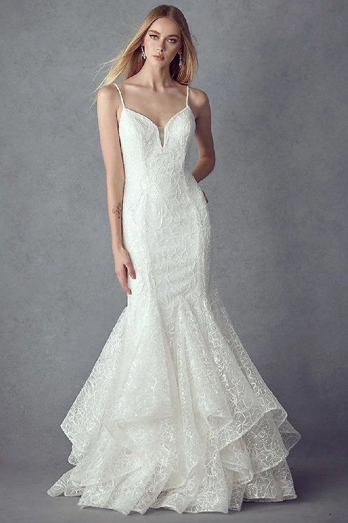 Off White Sequin Mermaid Bridal Gown Size L
