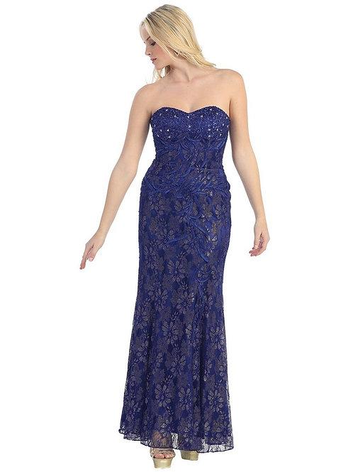 Royal Blue Strapless Long Dress Size 6, 10