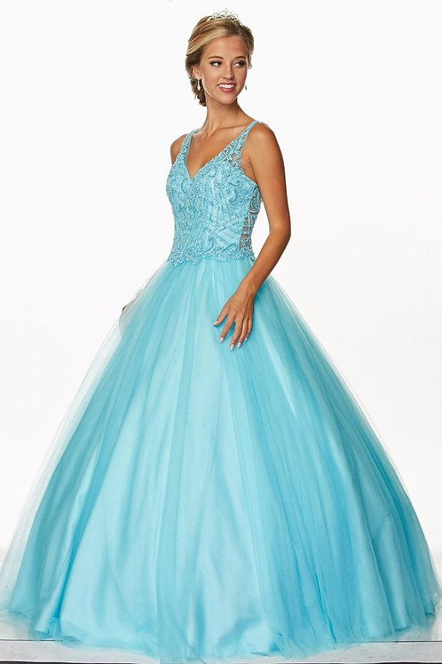 Turquoise Beaded Ball Gown Size 2XL