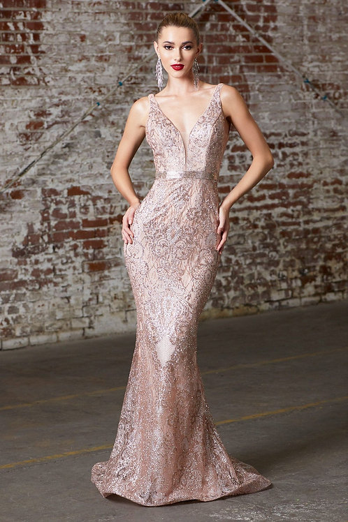 Rose Gold Glitter Long Dress Size 8