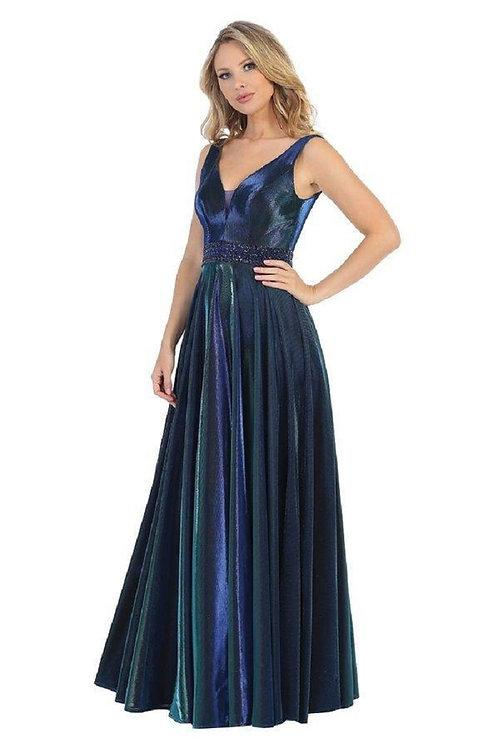 Royal Blue Metallic Long Dress Size XL