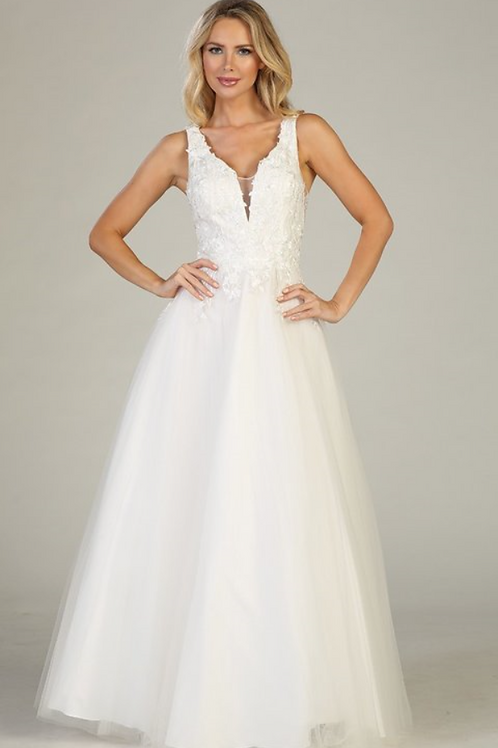 Off White A-Line Bridal Gown Size L & 2XL