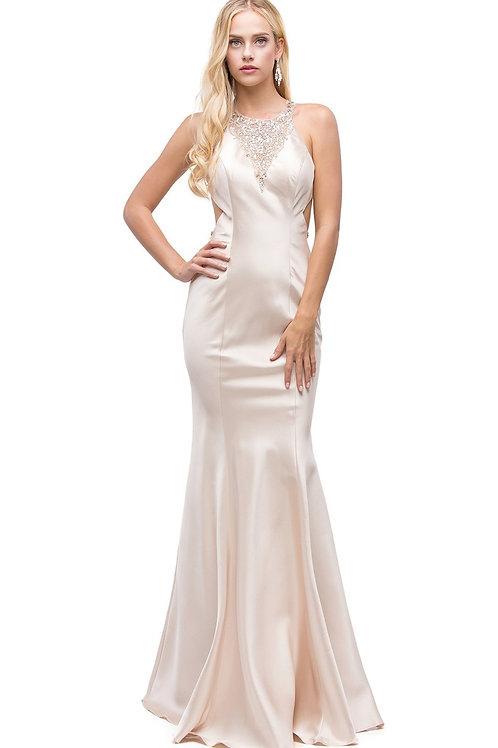 Champagne Jeweled Fit & Flare Long Dress Size XS, M