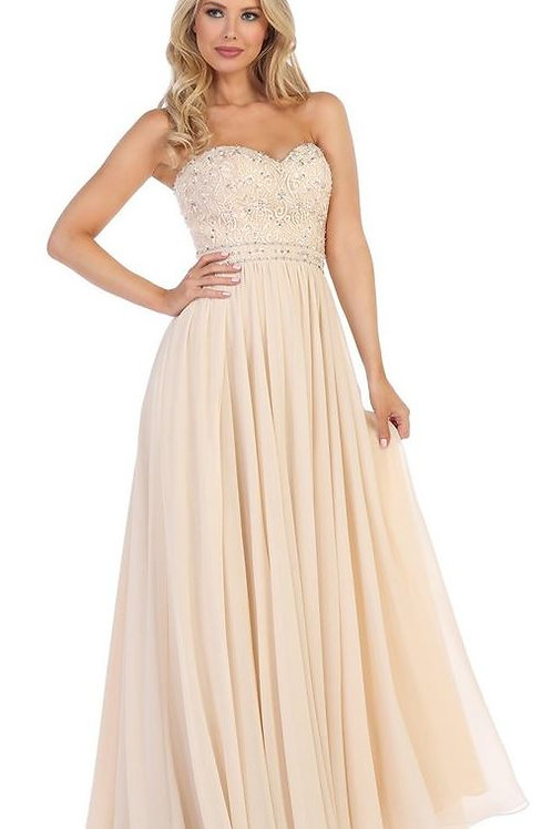 Champagne Semi Formal Strapless A-Line Bridal Gown Size XS