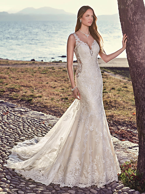 Ivory Fit & Flare Lace Bridal Gown Size 10