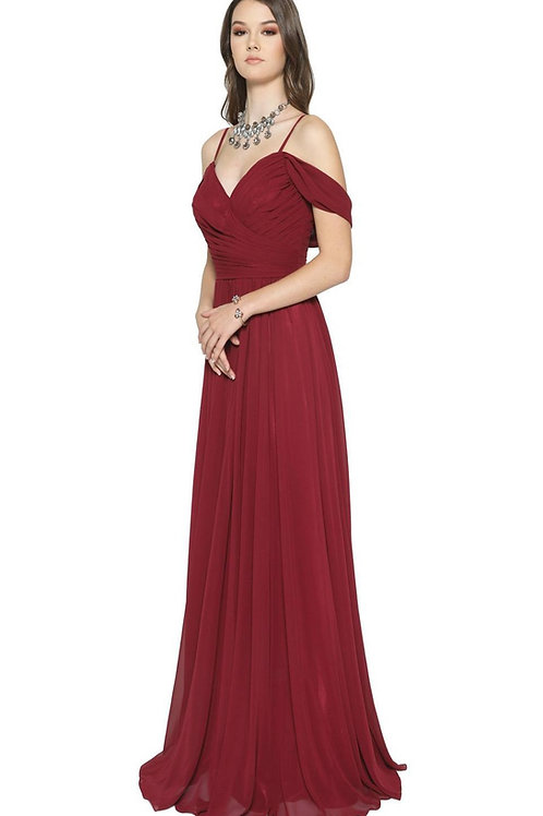 Burgundy Off Shoulder Long Dress Size XL