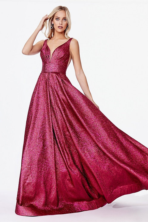 Magenta Metallic A-Line Ball Gown Size 2