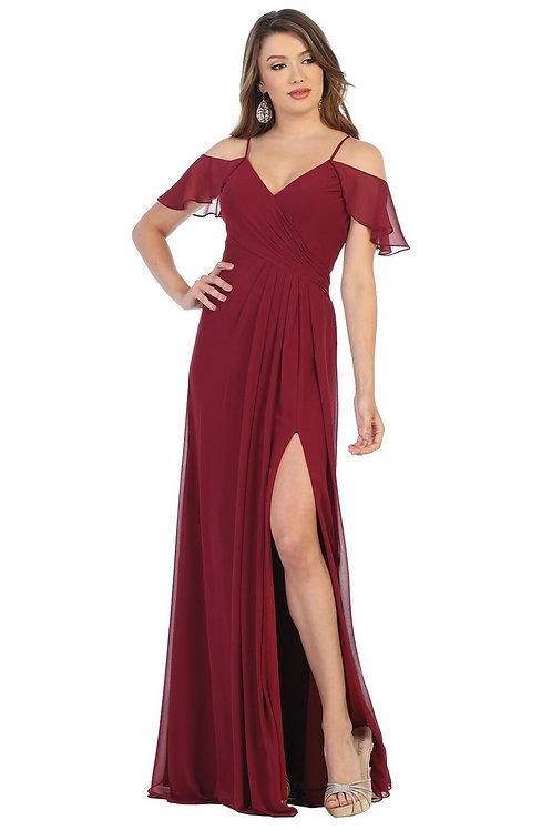 Burgundy Off Shoulder Long Dress Size 20