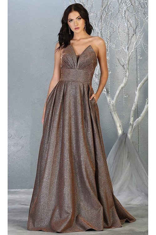 Bronze Strapless Long Dress Size 8
