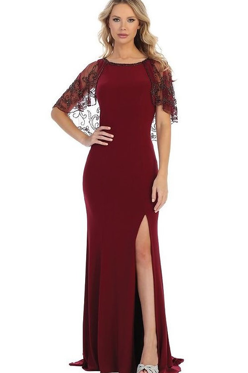 Burgundy Long Dress With Attached Beaded Shawl Size L