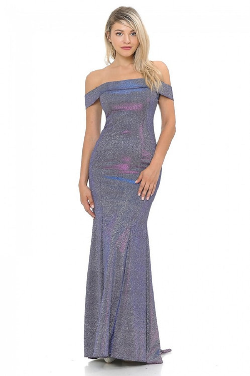 Purple Metallic Off Shoulder Long Dress Size S