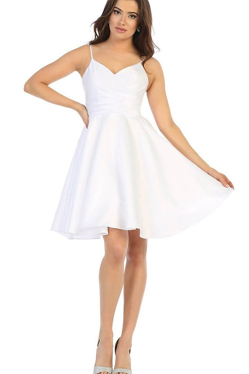 White Satin Short Dress Size 2