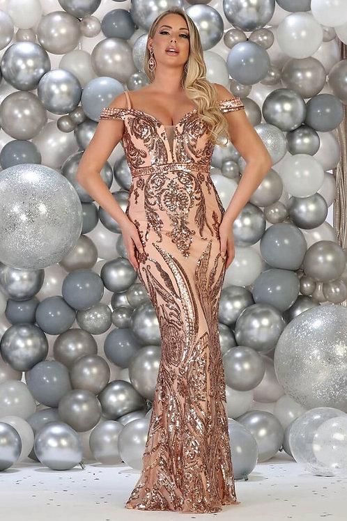 Rose Gold Sequin Long Dress Size 10