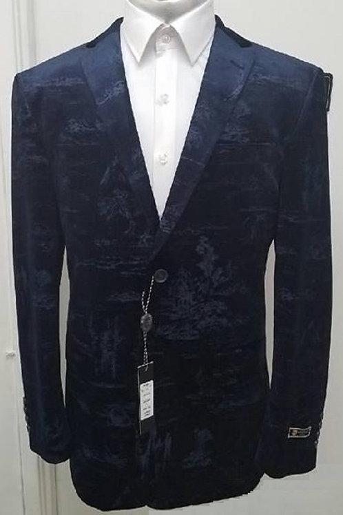 Navy Velvet Patterned Jacket Size 46R