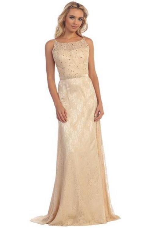 Champagne Lace Long Dress Size S