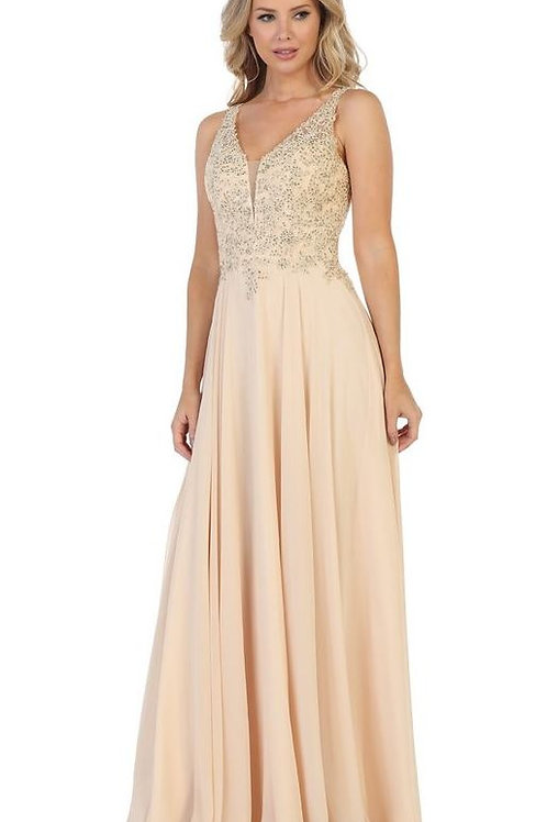 Champagne A-Line Semi Formal Gown Size XL