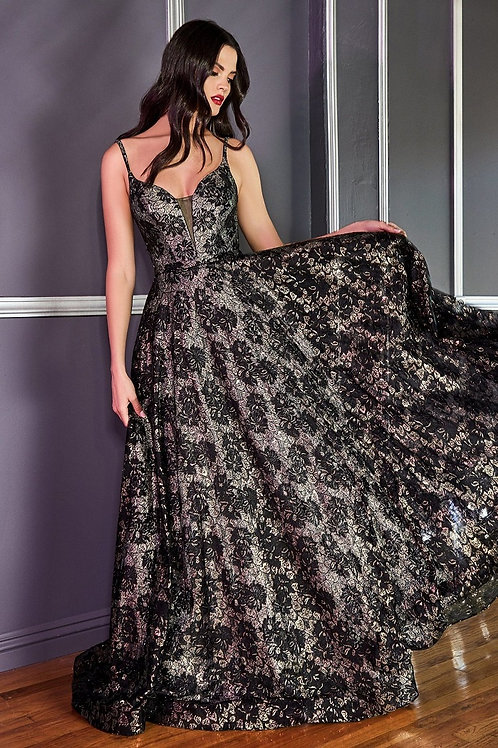 Opal Black Iridescent Lace Ball Gown Size 8