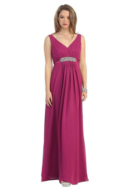 Burgundy Belted Long Dress Size 24
