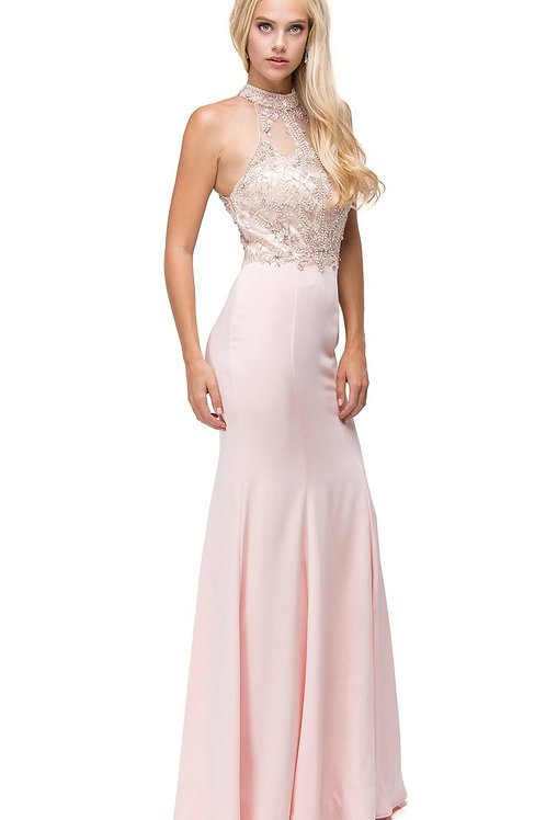 Blush Jeweled Halter Top Long Dress Size M