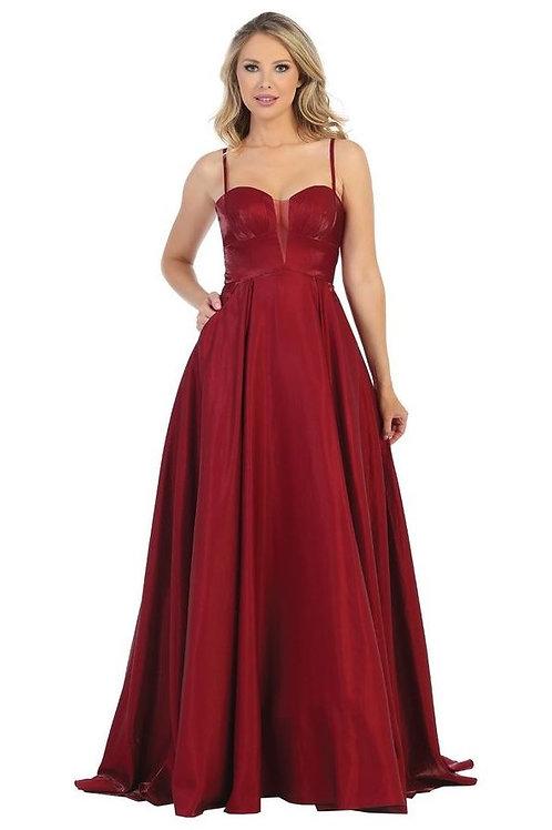 Burgundy Metallic Long Dress Size  L