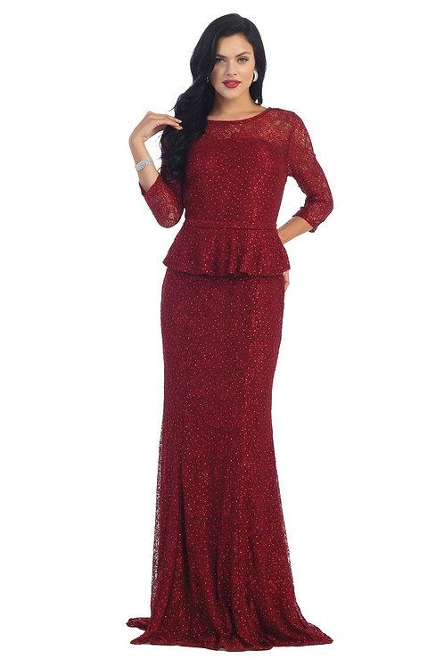 Burgundy Lace Long Sleeve Dress Size XL