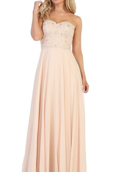 Champagne Semi Formal Strapless A-Line Bridal Gown Size M
