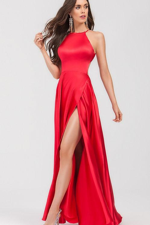 Red Satin Halter Top  Long Dress