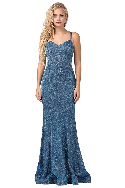 Blue Metallic Fit & Flare Long Dress Size XS