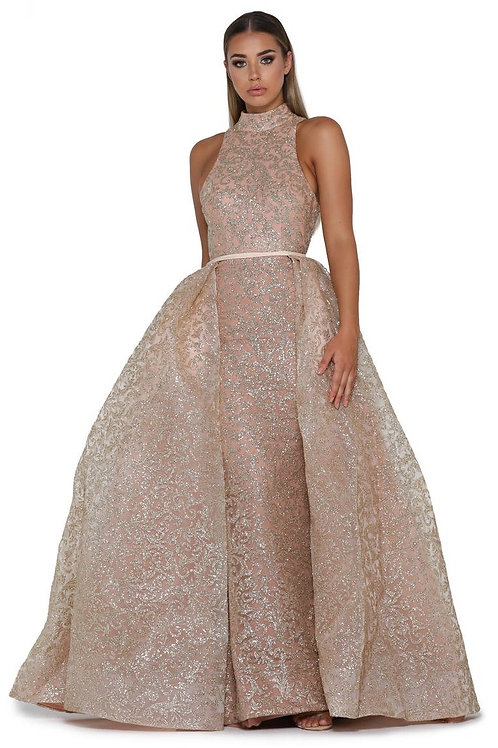 Rose Gold Glitter Long Dress With Detachable Train Size 6