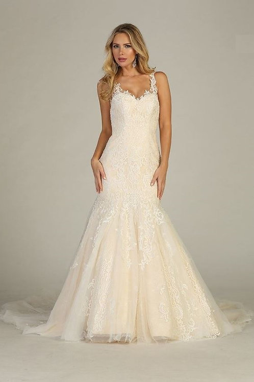 Ivory/Light Gold Lace Fit & Flare Bridal Gown Size S