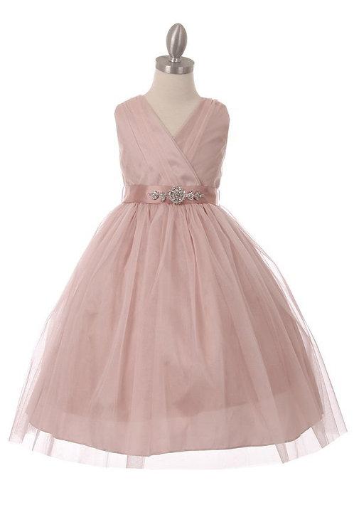 Girls Blush Glitter Tulle With Satin Belt Dress Size 14