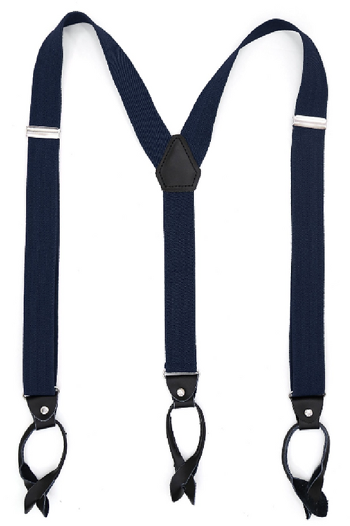 Navy Button End Suspenders