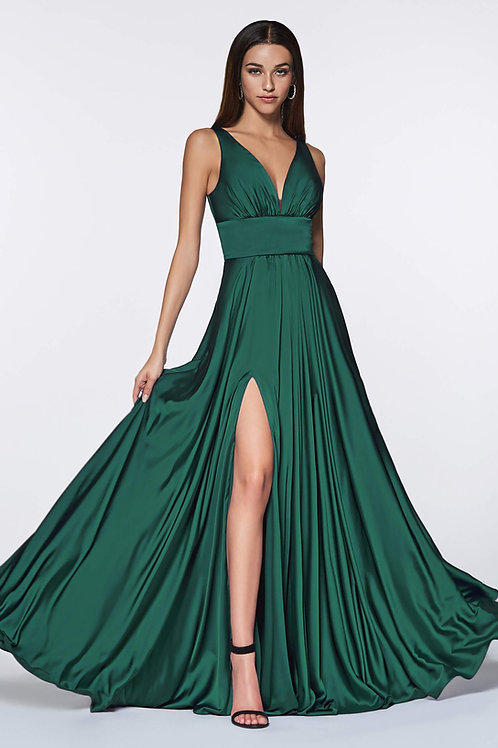 Emerald Satin Long Dress Size 20, 24