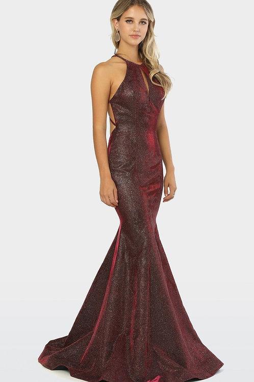 Burgundy Metallic Mermaid Long Dress Size XS