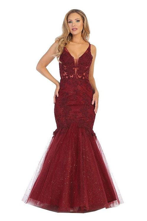 Burgundy Mermaid Long Dress Size XS