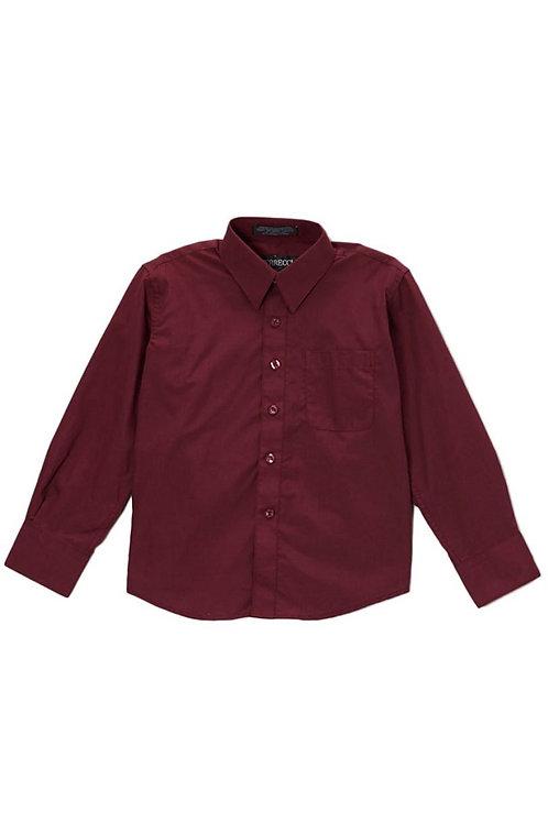 Boys Burgundy Button Up Dress Shirt Size 14