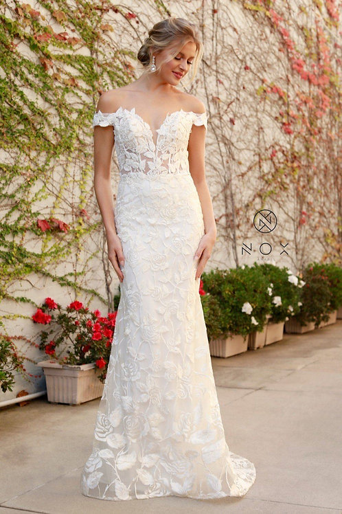 White Rose Embroidered Off Shoulder Bridal Gown